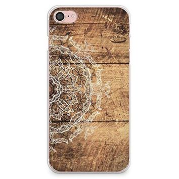 iPhone 8 Case, iPhone 7 Case, CasesByLorraine Wood Print Mandala Floral Henna Pattern Case Slim Hard Plastic Back Cover for Apple iPhone 7 & iPhone 8 (S04)