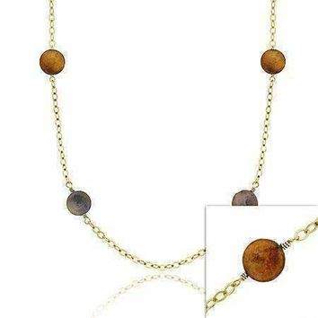 18K Gold over Sterling Silver Freshwater Cultured Multi-Color Coin Pearl Chain Necklace, 30 inch