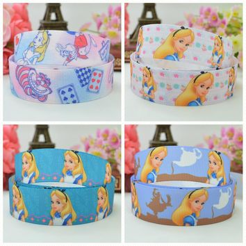"DUWES 7/8"" 22mm 2 5 10 20 50 Yards Princess Alice in Wonderland cartoon Printed grosgrain ribbon hair bow DIY handmade Retail"