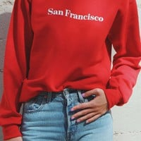 San Francisco Oversized Sweatshirt - Red