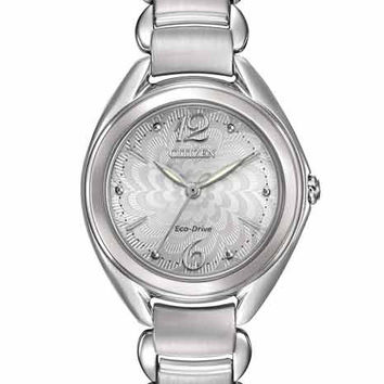 Citizen L Ladies Eco-Drive Dress Watch - Flower Motif Dial - Stainless Steel