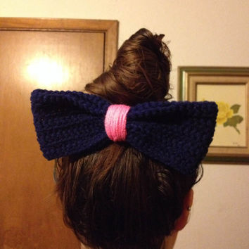 Crochet Hair Bow / Bow Hair Clip / Huge Hair Bow / Womens Hair Bow / Girls Hair Bow / Fashion Hair Bow / Spring Hair Bow