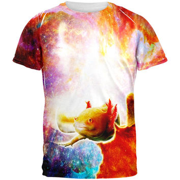 Galaxy Axolotl Mexican Salamander All Over Adult T-Shirt
