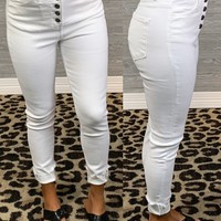 Hadley White Button Skinnies