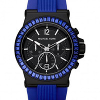 Michael Kors MK5466 Women's Rubber Strap Blue Baguette Watch