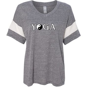 Yoga Clothing For You Yin Yang Yoga Text Eco-Friendly V-neck Yoga Tee Shirt