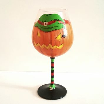 Pumpkin witch Halloween themed wine glass, high quality glass, Halloween wine glass, Jack o lantern, decorated Halloween wine glass