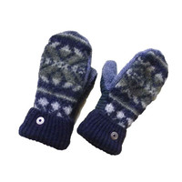 Navy Green Gray Wool Mittens, Sweater Mittens, Recycled Mittens Handmade in Wisconsin Fleece Lined Recycled Mittens SweatyMitts Gift