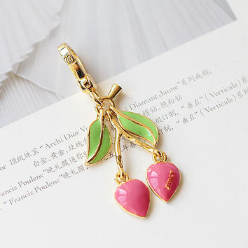 JC Brand Pink Cherry Charm Women Handbag Zipper Key Chains For Girl Necklace Pendant Jewelry