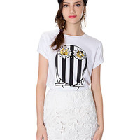 Daisy Striped Owl Pattern Print Short Sleeve T-shirt
