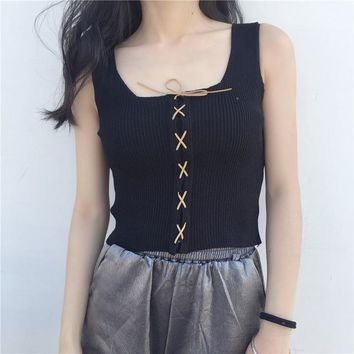 Summer Sexy Vest Topics Cropped feminino Female Lace-up Tank Tops women Summer Woman topics Blusa clothes HTC502