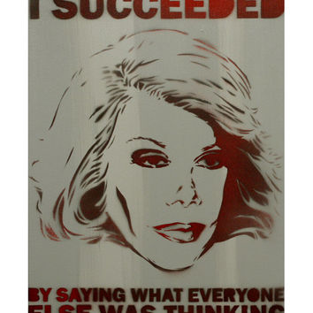 Joan Rivers Portrait Comedy Painting 11x14 Wall Art Gay Icon Vintage Hollywood Graffiti Art On Canvas Street Art Pop Art Andy Warhol Banksy