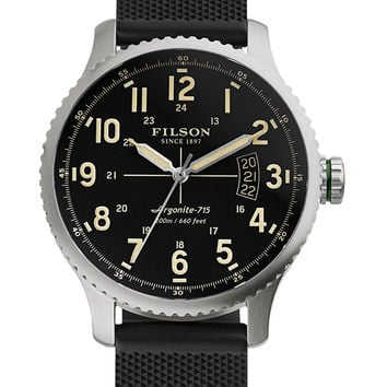 Filson Men's Mackinaw Field Stainless Steel Watch, 43mm - Black