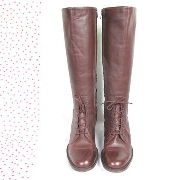 80s Leather Equestrian Riding Boots Vintage Brown Leather Knee High Boots Hunt Club Lace Up Insulated Boots (6.5)