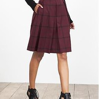 Check Pleated Full Skirt
