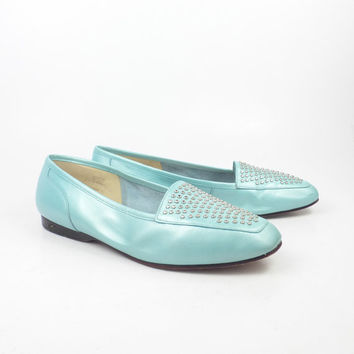 Studded Flats Shoes Vintage 1980s Enzo Angiolini Robin's Egg Blue Leather size 8 M