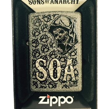 Zippo Custom Lighter - Samcro Sons of Anarchy SOA ANARCHY REPEATING Reaper - Regular IRON STONE MATTE 211-CI401340