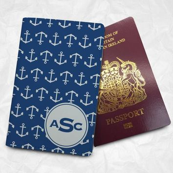 Navy Blue Anchors Personalised Custom Name Passport Cover Passport Holder with FREE Name Printing (BBS050)