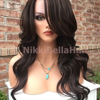 Donna Soft Wave Brown Human Hair Blend Lace Wig 18""