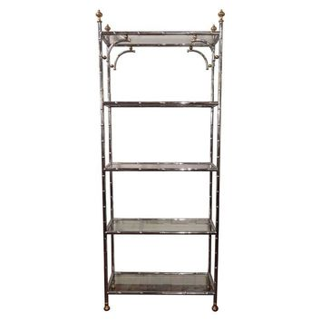 Pre-owned Chrome Bamboo 5-Tier Etagere