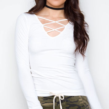 From The Heart Crisscross Top - White