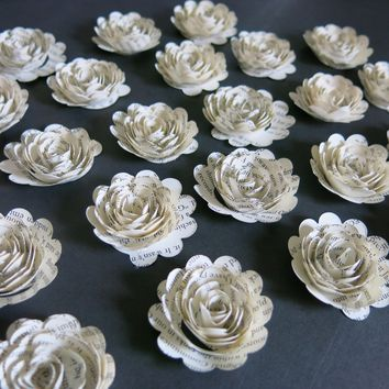 "Scalloped Book Roses paper flowers wedding decorations lot of 24 table decor Mini floral bridal Bouquet home decor graduation teacher gift 1.25"" blooms"