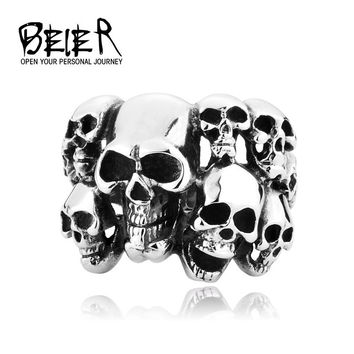 Men's Punk Biker Jewelry lot of multi solid Skull Ring 316L Stainless Steel Jewelry US size