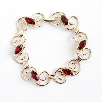 Vintage 12k Rosy Yellow Gold Filled Simulated Garnet Bracelet - 1950s Dark Red Marquise Rhinestone Coiled Filigree Panel Statement Jewelry