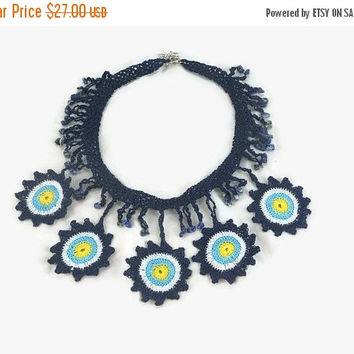 CHRISTMAS Evil Eye  Necklace  /  Statement Jewelry / Boho Crochet Bead Necklace / Crochet Choker  / Gift under usd  30