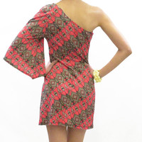 Housewife Tribal One Shoulder Dress Red