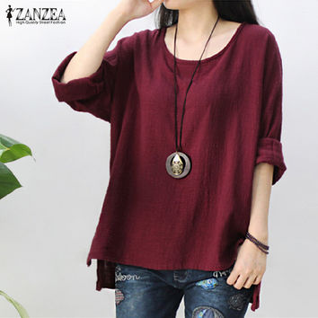S-5XL Blusas ZANZEA Womens Crew Neck Long Sleeve Shirts Casual Loose Baggy Cotton Linen Blouse Solid Retro Shirts 2017