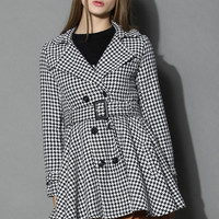 Houndstooth Belted Flare Tweed Coat Multi S