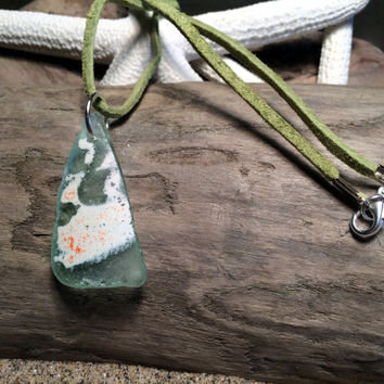Upcycled Jewelry Sea Glass Shard Beach Glass Necklace Celery Green Suede Cord Beach Theme Eco Friendly Lake Erie