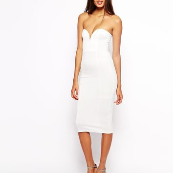 Oh My Love Midi Dress with Plunge Neck