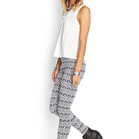 FOREVER 21 Geo Print Leggings Navy/Cream
