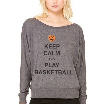 keep calm and play basket ball WOMEN'S FLOWY LONG SLEEVE OFF SHOULDER TEE
