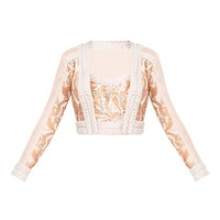 Zarra Rose Gold Premium Panelled Cropped Jacket