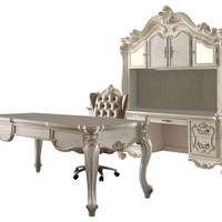 Acme 92275 Versailles bone white finish wood detailed carvings ornate office desk with claw feet design