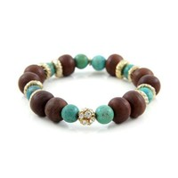 Solitary Sparkling Colored Rhinestone Stretch Bodhi Seed Bead Bracelet with Donut Rings and Semi Precious Stone