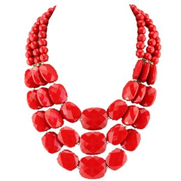 2017 Women Fashion Summer Jewelry Acrylic Candy Necklaces & Pendants Bead Collar Statement Women Choker Necklace With Earring Je