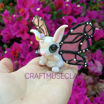 Baby bunny butterfly fairy polymer clay figure//fantasy//woodland//gifts for her//birthday//rabbit//clay animals