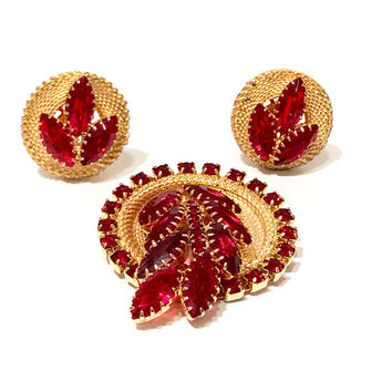 Red Rhinestone Pin And Earring Set, Marquis Leaves, Round Crystals, Mid Century, Textured Gold Tone, Brooch And Clip Ons, Vintage 1950s