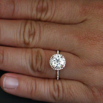 Rose Gold Forever Brilliant Moissanite Engagement Ring in 14k Gold with Moissanite Round 8mm and Diamond Halo Ring