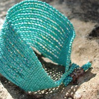 Sky Dreams Chunky Turquoise Bead woven Cuff / by CallOfEarth