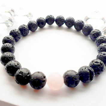 Natural Lava Bead Bracelet with Rose Quartz| Essential Oil Diffuser