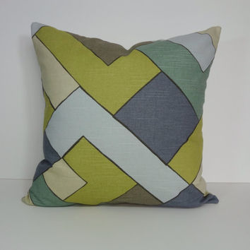 Robert Allen Designer Pillow Cover, Decorative Pillow Cushion, Geometric, Blue, Green, Sea Green, Citron, Grey, 16 x 16, 18 x 18