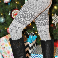 Winter Wonderland Fleece Lined Leggings: Gray