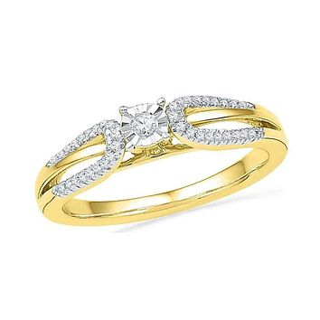 10kt Yellow Gold Women's Round Diamond Solitaire Open-shank Bridal Wedding Engagement Ring 1/6 Cttw - FREE Shipping (US/CAN)