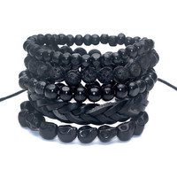Men's 4-5 pcs Black Out Bamboo Bracelet