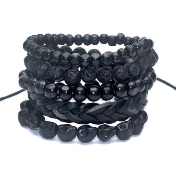 1 Set 4-5 pcs Black Out Bamboo wood, Lava Stone Beads Stone Skull and Pull-Closure Leather Bracelet Men's Fashion Bracelet Pack